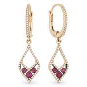 0.72ct Round Cut Ruby & Diamond Pave Dangling Earrings in 14k Rose & Black Gold