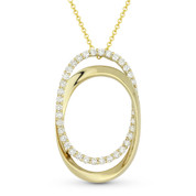 0.72ct Round Brilliant Cut Diamond Pave Double-Oval Pendant & Chain Necklace in 14k Yellow Gold