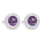 1.02ct Round Brilliant Cut Amethyst & Diamond Martini Stud Earrings in 14k White Gold