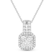 0.74ct Round Brilliant Cut Diamond Cluster & Halo Pendant in 18k White Gold w/ 14k Chain Necklace