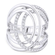 0.74ct Round Cut Diamond Right-Hand Overlap Loop Wrap Ring in 14k White Gold