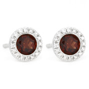1.30ct Round Brilliant Cut Garnet & Diamond Martini Stud Earrings in 14k White Gold