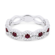 0.75ct Round Cut Ruby & Diamond Pave Evil Eye Charm Ring in 14k White Gold