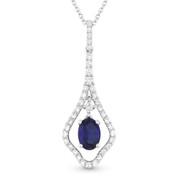 0.75ct Sapphire & Diamond Pave Drop Pendant in 18k White Gold w/ 14k Chain Necklace