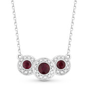 0.79ct Round Brilliant Cut Ruby & Diamond Pave Triple-Halo Pendant & Chain Necklace in 18k White Gold