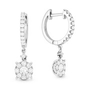 0.85ct Round Cut Diamond Cluster & Pave Dangling Circle Piece Earrings in 14k White Gold