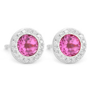 1.53ct Round Brilliant Cut Lab-Created Pink Sapphire & Diamond Martini Stud Earrings in 14k White Gold