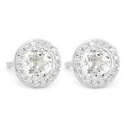 1.29ct Round Brilliant Cut White Topaz & Diamond Martini Stud Earrings in 14k White Gold