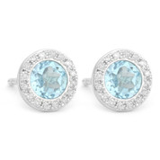 1.40ct Round Brilliant Cut Blue Topaz & Diamond Martini Stud Earrings in 14k White Gold