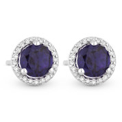 0.96ct Round Cut Iolite & Diamond Halo Martini Stud Earrings in 14k White Gold