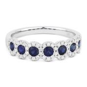 0.98ct Round Cut Sapphire & Diamond 7-Bezel Anniversary / Wedding Band in 14k White Gold