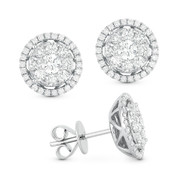 1.15ct Round Brilliant Cut Diamond Cluster & Halo Stud Earrings in 14k White Gold