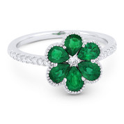 1.18ct Pear-Shaped Emerald & Round Cut Diamond Flower Ring in 18k White Gold