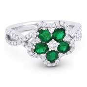 1.19ct Oval Cut Emerald & Round Brilliant Diamond Flower-Design Cocktail Ring in 18k White Gold