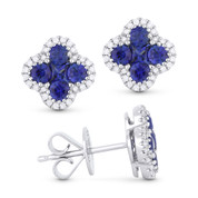 1.20ct Sapphire Cluster & Diamond Pave Flower Charm Stud Earrings in 14k White Gold