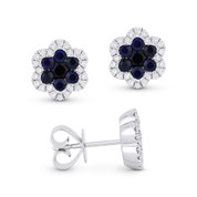 1.21ct Round Cut Sapphire Cluster & Diamond Pave Flower Stud Earrings in 18k White Gold