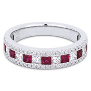 1.24ct Princess Cut Ruby & Diamond & Round Diamond Pave Anniversary Ring / Wedding Band in 18k White Gold