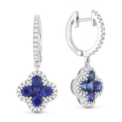 1.27ct Princess & Round Cut Sapphire Cluster & Diamond Pave Dangling Earrings in 18k White Gold