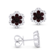 1.27ct Round Cut Ruby Cluster & Diamond Pave Flower Stud Earrings in 18k White Gold