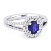 1.28ct Oval Cut Sapphire & Round Diamond Pave Double-Halo Engagement Ring in 18k White Gold