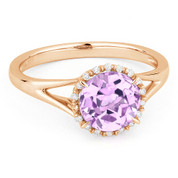 1.28ct Round Brilliant Cut Pink Amethyst & Diamond Halo Promise Ring in 14k Rose Gold