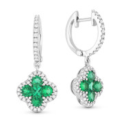 1.30ct Princess & Round Cut Emerald Cluster & Diamond Pave Dangling Earrings in 18k White Gold