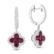 1.34ct Princess & Round Cut Ruby Cluster & Diamond Pave Dangling Earrings in 18k White Gold