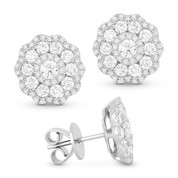 1.36ct Round Brilliant Cut Diamond Cluster Flower Stud Earrings in 18k White Gold