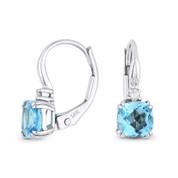 1.36ct Cushion Cut Blue Topaz & Round Diamond 14x5mm Leverback Drop Earrings in 14k White Gold