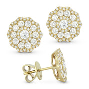 1.40ct Round Brilliant Cut Diamond Cluster Flower Stud Earrings in 14k Yellow Gold
