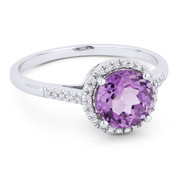 1.43ct Round Brilliant Cut Purple Amethyst & Diamond Halo Promise Ring in 14k White Gold
