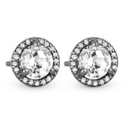 1.46ct Round Cut White Topaz & Diamond Halo Martini Stud Earrings in 14k Black Gold