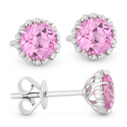 1.50ct Round Brilliant Cut Lab-Created Pink Sapphire & Diamond Halo Stud Earrings in 14k White Gold