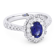 1.52ct Oval Cut Blue Sapphire & Diamond Pave Halo Engagement Ring in 18k White Gold