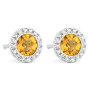 1.05ct Round Brilliant Cut Citrine & Diamond Martini Stud Earrings in 14k White Gold