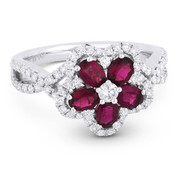 1.57ct Oval Cut Ruby & Round Brilliant Diamond Flower-Design Cocktail Ring in 18k White Gold