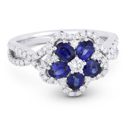 1.64ct Oval Cut Sapphire & Round Brilliant Diamond Flower-Design Cocktail Ring in 18k White Gold