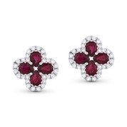 1.67ct Pear-Shaped Ruby & Round Diamond Pave Flower Stud Earrings in 18k White Gold