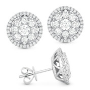 1.71ct Round Brilliant Cut Diamond Cluster & Halo Stud Earrings in 14k White Gold