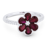 1.72ct Pear-Shaped Ruby & Round Cut Diamond Right-Hand Flower Ring in 18k White Gold