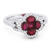 1.73ct Ruby Cluster & Diamond Pave Right-Hand Cocktail Ring in 18k White Gold