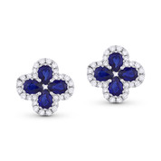 1.74ct Pear-Shaped Sapphire & Round Diamond Pave Flower Stud Earrings in 18k White Gold