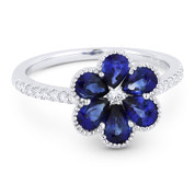 1.76ct Pear-Shaped Sapphire & Round Cut Diamond Right-Hand Flower Ring in 18k White Gold
