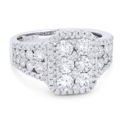 1.77ct Round Brilliant Cut Diamond Cluster Right-Hand Statement Ring in 18k White Gold