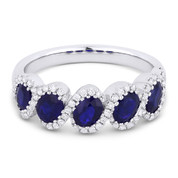 1.84ct Oval Cut Sapphire & Round Diamond Halo 5-Stone Ring in 14k White Gold