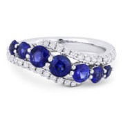 1.84ct Round Brilliant Cut Sapphire & Diamond Pave Right-Hand Ring Swirl Band in 18k White Gold