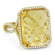 10.50ct Checkerboard Cushion Citrine & Round Cut Diamond Pave Cocktail Ring in 14k Yellow Gold
