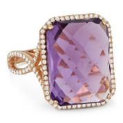 10.57ct Checkerboard Cushion Amethyst & Round Cut Diamond Pave Cocktail Ring in 14k Rose Gold