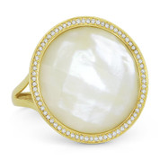 10.49ct Checkerboard Round Mother-of-Pearl & 0.21ct Round Cut Diamond Halo Cocktail Ring in 14k Yellow Gold