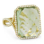 10.85ct Checkerboard Cushion Green Amethyst & Round Cut Diamond Pave Cocktail Ring in 14k Yellow Gold